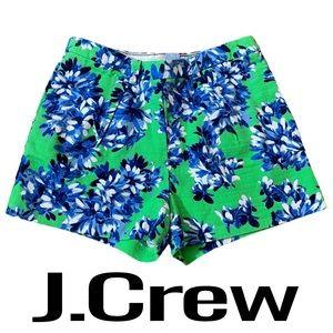 J. Crew Green Blue White Floral Shorts Size 6